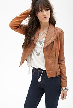 Knit-Paneled Faux Leather Jacket   FOREVER21 - 2000118748