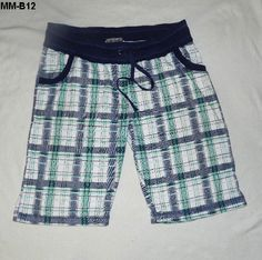 Ladies PLUS SIZE -Mod Modele Sz 1X Blue Plaid Bermuda Shorts--$9.99 free ship