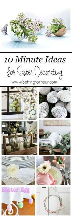 Quick and Easy Easter Decorating Ideas. Decorate your home for Spring in a jiffy! See all the beautiful DIY ideas at www.settingforfour.com #diy #tutorial #easter #eastercrafts #decor #quick #tablesetting #InteriorDesignIdeas