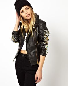 ASOS | ASOS Leather Biker Jacket With Heavily Embellished Sleeve at ASOS