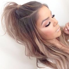 48 Affordable Half Ponytail Hairstyles Ideas You Need To Try - TILEPENDANT Awesome 48 Affordable Half Ponytail Hairstyles Ideas You Need To Try. Cute Hairstyles For Teens, Cute Hairstyles For Medium Hair, Teen Hairstyles, Teenager Hairstyles, Gorgeous Hairstyles, Hairstyles 2018, Short Ponytail Hairstyles, Curly Ponytail Hairstyles, School Picture Hairstyles