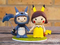 Cute cartoon anime wedding cake topper bride by GenefyPlayground, £128.00