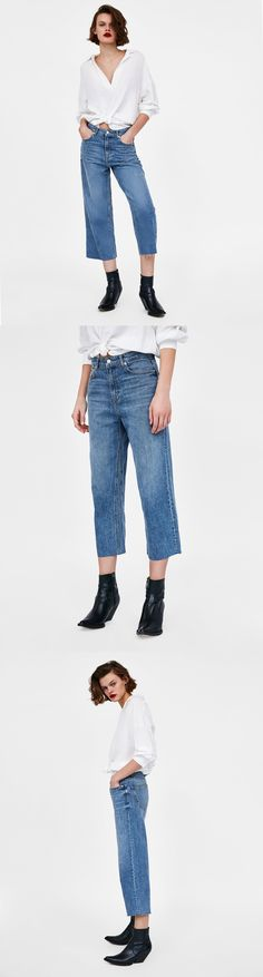 Jeans High Waist Culotte Malibu Blue // 49.90 USD // Zara // The High Waist Culotte in Malibu Blue. High-rise, wide-leg jeans. They feature five pockets, frayed hems and metal zip and top button fastening in the front. HEIGHT OF MODEL: 178 CM / 5′ 10″