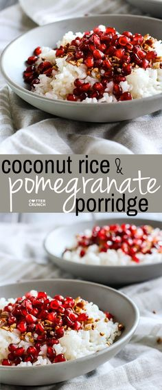 Coconut Rice and Pomegranate Porridge! A nourishing gluten free and dairy free breakfast bowl made with jasmine rice, coconut milk or cream, cinnamon, maple syrup, nuts, and cinnamon. We call this the performance carb porridge because of the budget friend