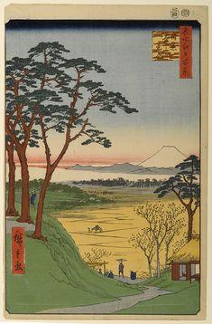 "Hiroshige - One Hundred Famous Views of Edo Autumn 84 ""Grandpa's Teahouse"" in Meguro (目黒爺々が茶屋 Meguro jijigachaya?)Teahouse and teastall, Mount Fuji — 1857 / 4Mita, Meguro"