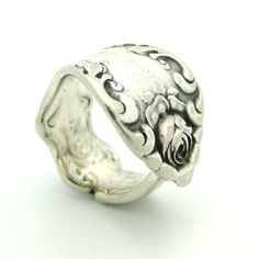 Beautiful Rose Silver Spoon Ring