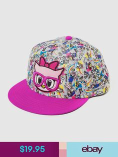 9ef3c133660a3 Girls  Accessories Neon Star By Tokidoki Nerdy Owl Baseball Cap Adjustable  Fit Hat Snapback Nwt