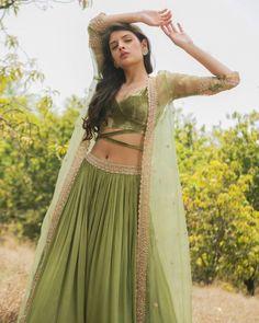 Beautiful Lehenga-Choli with long net jacket. Indian Gowns Dresses, Indian Fashion Dresses, Dress Indian Style, Indian Designer Outfits, Wedding Dresses For Girls, Indian Wedding Outfits, Bridal Outfits, Indian Outfits, Lehenga Choli