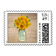 Country Rustic Mason Jar Sunflowers Wedding Stamps. It is really great to make each letter a special delivery! Add a unique touch to invites or cards with your own photos or text. Just click the image to learn more!