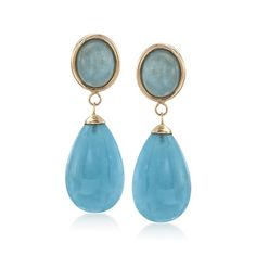 Round and Oval Cabochon Aquamarine Drop Earrings in 14kt Yellow Gold.  | #829510 @ ross-simons.com