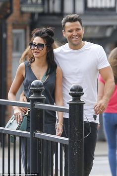 Cute couple: Putting on a cosy display as they enjoyed a romantic walk together, the genetically blessed pair looked overjoyed to be back in each other's company Mark Wright, Walk Together, Michelle Keegan, Put On, Couple Goals, Cute Couples, Cosy, Summer Outfits, Sporty
