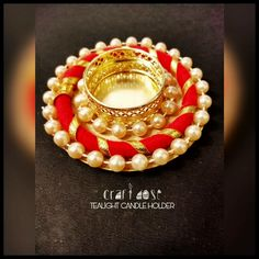 TEALIGHT CANDLE HOLDER Diwali Candle Holders, Diwali Candles, Diwali Lights, Candle Holder Decor, Thali Decoration Ideas, Diy Diwali Decorations, Diy Wedding Decorations, Diwali Diya, Diwali Craft