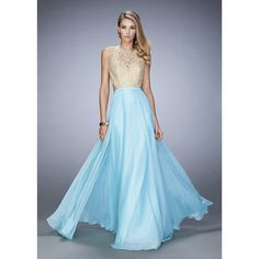 Long Aqua Chiffon Embellished Beaded Gold Lace Prom Dress 2016 ($203) ❤ liked on Polyvore featuring dresses, blue dress, cocktail prom dress, lace dress, prom dresses and gold prom dresses