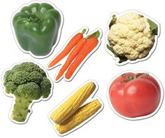 """Vegetables! 6"""" Cutouts - Great to use with """"Eating is Fun"""""""