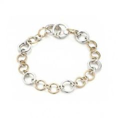 Modern Two-Tone Round Link Sterling Silver Bracelet 8in