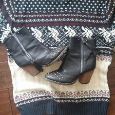 Studded fringe booties Worn. But lots of life left. Missing a few studds. Scratches on the heels. Still cute!! Look like free people booties. Free People Shoes Ankle Boots & Booties