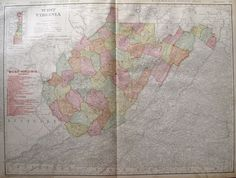 Rare WEST VIRGINIA Map with RAILROADS Antique 1908 RARE SIZE Map 1127