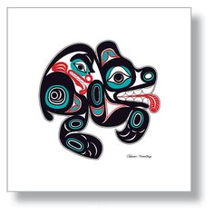 "$150.00 ""Bear"" 12X12 Giclée Print  Northwest Native American design by Israel Shotridge.     #Bear #NativeArt #Alaska #tlingit #giclee #NativeAmerican"