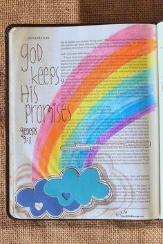 Genesis 9:3, September 13, 2016 Carol@Belleauway.com Watercolor gel crayon, Illustrated Faith Pen and Die-cut clouds, Bible Art Journaling, Journaling Bible, Illustrated Faith