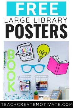 FREE library posters for you to print and display in your classroom! These posters will add color and inspiration to your reading center, book nook or classroom library! Library Signage, Library Posters, Reading Posters, Classroom Themes, Classroom Libraries, Classroom Reading Nook, Classroom Labels Free, Classroom Freebies, Classroom Supplies