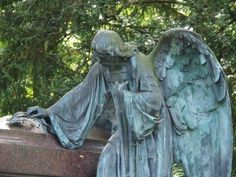 Angel statue on a graveyard