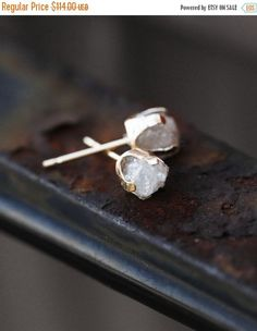 Ostern Verkauf SOLID 14 k Gold roher Diamant von ClaudetteTreasures