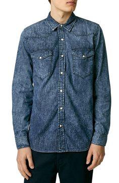 Topman Topman Acid Wash Denim Western Shirt available at #Nordstrom