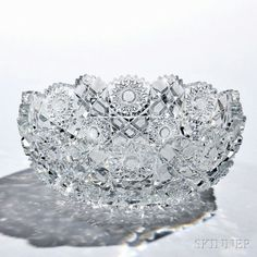 American Brilliant-cut Glass Bowl, late 19th/early 20th century, with hobstars, sunbursts, and engraved diamonds, scalloped rim, dia. 9 1/4 in.