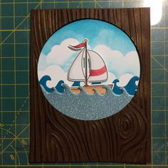 An order almost ready to set sail.  #etsy #sailboat #woodgrain #sailing #fathersday #cards #ink #waves #blueskies #diecuts #handmade by happydancecards