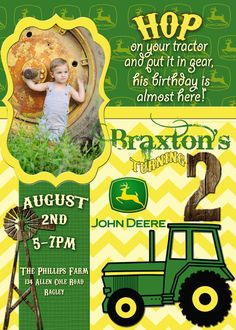 Hey, I found this really awesome Etsy listing at https://www.etsy.com/listing/164603632/john-deere-birthday-invitation