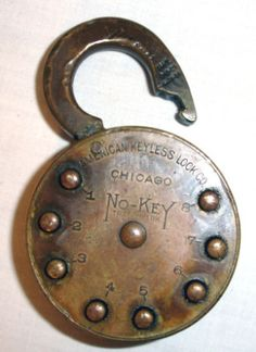 ANTIQUE NO-KEY LOCK WITH COMBINATION PADLOCK
