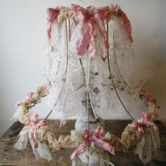 Large wire lampshade up cycled tattered salvaged lace fabric shabby cottage chic ornate lamp shade lighting decor anita spero design by AnitaSperoDesign on Etsy https://www.etsy.com/listing/237064208/large-wire-lampshade-up-cycled-tattered
