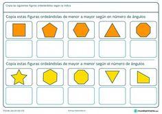 Ficha de ordenar figuras según el número de ángulos para primaria