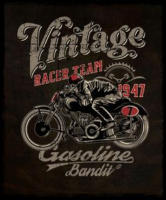 #GASOLINEBANDIT #Vintage #Racing Motos Vintage, Vintage Biker, Vintage Motorcycles, Motorcycle Logo, Motorcycle Posters, Biker Quotes, Vintage Metal Signs, Garage Art, Shirt Print Design