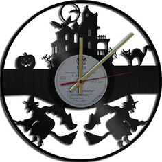 Halloween Theme Wall Clock  Upcycled vinyl records by geoartcrafts, €19.00