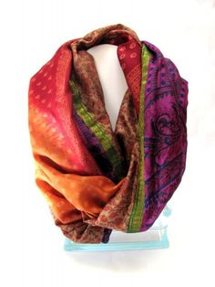 Infinity loop silk scarf gold magenta maroon Indian sari repurposed