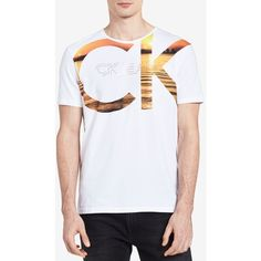 Calvin Klein Jeans Men's Ck Logo Graphic Print T-Shirt (€36) ❤ liked on Polyvore featuring men's fashion, men's clothing, men's shirts, men's t-shirts, orange marigold, mens print shirts, mens orange shirt, mens patterned t shirts, mens patterned shirts and mens cotton shirts