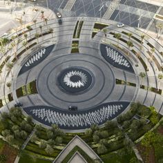 Burj Khalifa Park by SWA Group, I chose this image because of the spiral design of the park. Along with how the symmetrical design is man made but also natural at the same time. Also, the flags from above create a detailed pattern towards the centre. Landscape Concept, Landscape Architecture Design, Architecture Plan, Traditional Landscape, Contemporary Landscape, Urban Landscape, Plaza Design, Architect Jobs, Gardening Courses