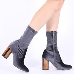 Elva Mirrored Heel Ankle Boots in Black Velvet | Public Desire