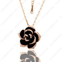 Big Black Rose 18K Gold Plated Pendant Necklace SWA Elements Crystal Wholesale Black Rose Flower Pendant/Chain Necklace N040R1