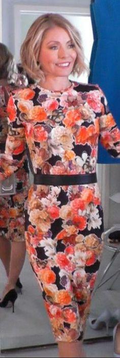 Who made  Kelly Ripa's orange floral print dress?