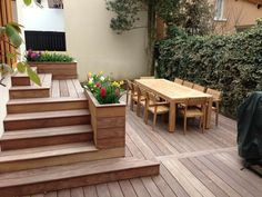 """planter like this (minus the lip, raised more above top level ground height) at east end of upper deck, and possibly where two decks meet at """"L"""" if needed. Patio Steps, Pergola Patio, Backyard Landscaping, Pergola Ideas, Gazebo, Terrasse Design, Deck Planters, House Deck, Diy Deck"""
