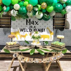 baby boy birthday party Ideas For Baby Boy Shower Themes Jungle Safari Decoration Birthday Party Ideas Boys First Birthday Party Ideas, Wild One Birthday Party, Baby Boy First Birthday, Party Themes For Boys, Boy Birthday Parties, Birthday Party Decorations, Cake Birthday, Baby Boy Birthday Themes, Birthday Highchair