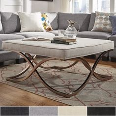 Solene X Base Square Ottoman Coffee Table Chrome By Inspire Q Overstock Com