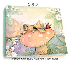 Small Sleeping Fairy sticky notes stationary by Periwinklesky, $7.99