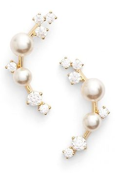 Nadri Faux Pearl Ear Crawlers