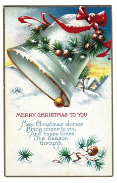 e-Studios Photo Restorations & Imagery. Beautiful Christmas Cards, Vintage Christmas Images, Merry Christmas To You, Antique Christmas, Retro Christmas, Christmas Bells, Vintage Holiday, Christmas Pictures, Christmas Angels