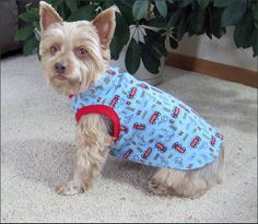 Dog Clothes Dog Tank Top with Fire Engines and by WaggleWear, $16.99