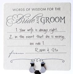 Letterpress wedding coasters Words of Wisdom Advice for the bride and groom by fluidinkletterpress, $13.95