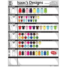 PRODUCT LINE SHEET PAGE 1, CLOTHING, CLOTHES, APPAREL